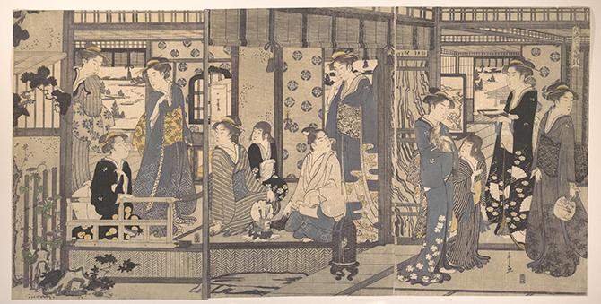 日本におけるジュエリの歴史。細田栄之画「風流やつし源氏 朝顔」1789年/Fletcher Fund, 1929/