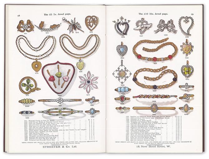 ジュエリーの近代史。イギリスの宝石店STREETER & Co. Ltd.が1900年頃に出版した商品カタログ(復刻)。本には実寸サイズでデザインが描かれ、下部に素材と値段が明記されている。Streeter, Edwin W.GEMS.(柏書店松原/2003年出版)