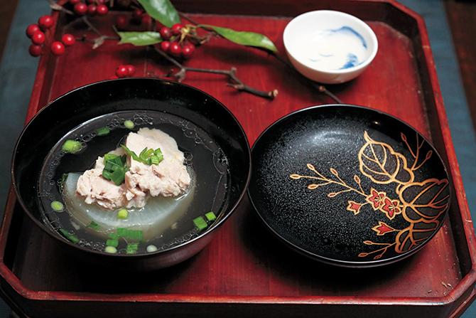 三の膳は、大根と豚肉の吸い物