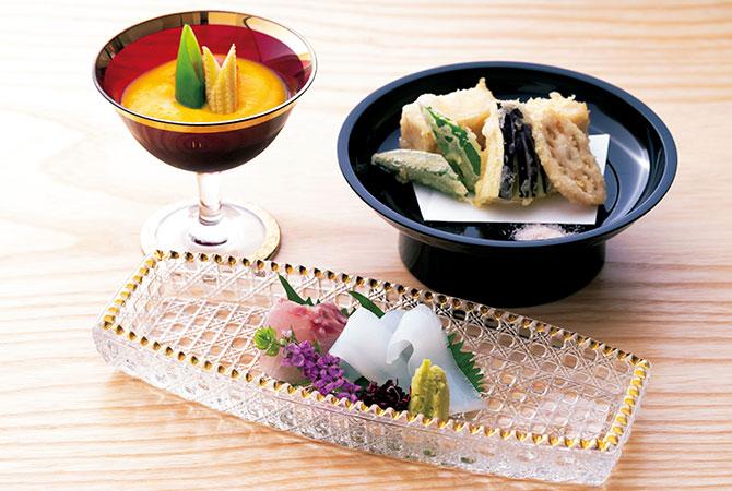 「かぼちゃのすり流し」、お造り、「胡麻豆腐の天ぷら」