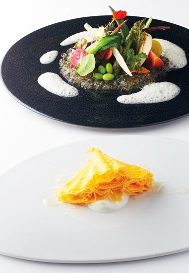 ラ・フルール・ドゥ・ミモレットと野菜を十数種類使った夏の前菜