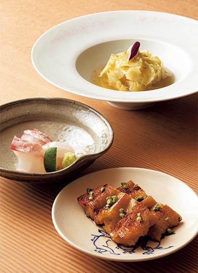 銀座凮月堂 煮あなごのあぶり、紅葉鯛のお造り、甘鯛の丹波蒸し