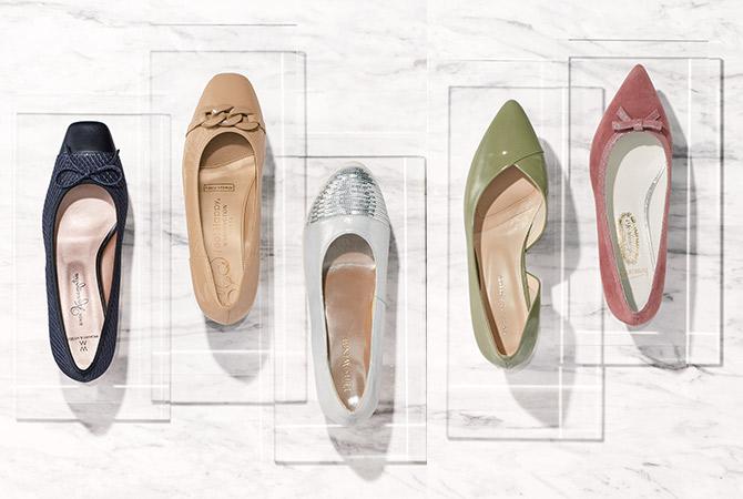 美しくて足に優しいおでかけローヒール靴