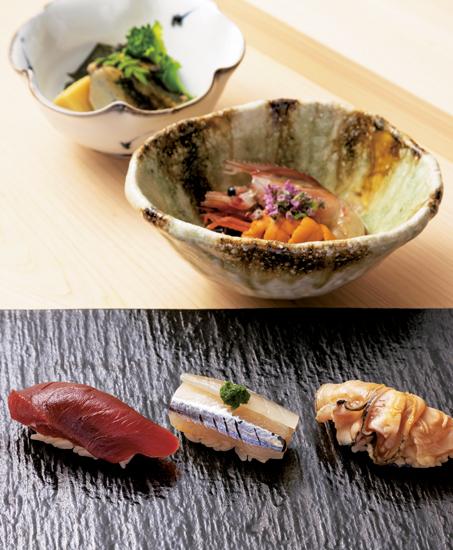 づけ、さより、煮蛤のにぎり、酔っぱらい海老のうに添え、鮑と筍の炊き合わせ