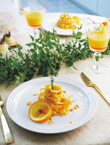 オレンジ香るカルボナーラ