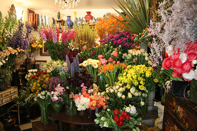 パリ・モンマルトル近くの花屋「ミューズ」。
