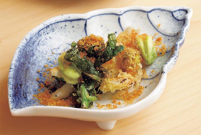 一本木 石橋の料理「白魚と春野菜の天ぷら」
