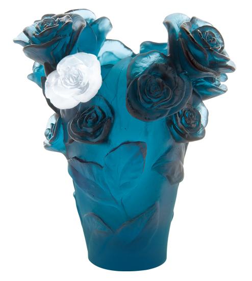 青いバラの花器