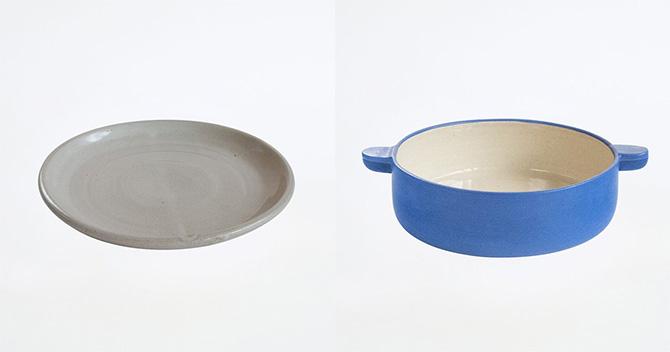 グレー色の平皿と青い鍋