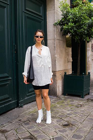 パリジェンヌのコーディネート 白シャツ