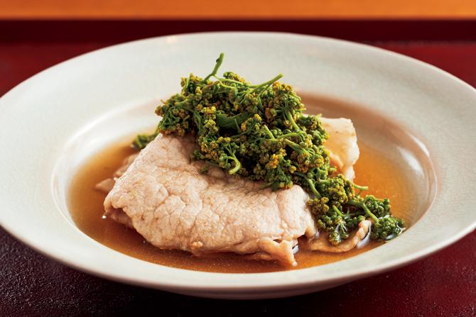 炊き合わせの「豚肉と 花山椒の小鍋仕立て」