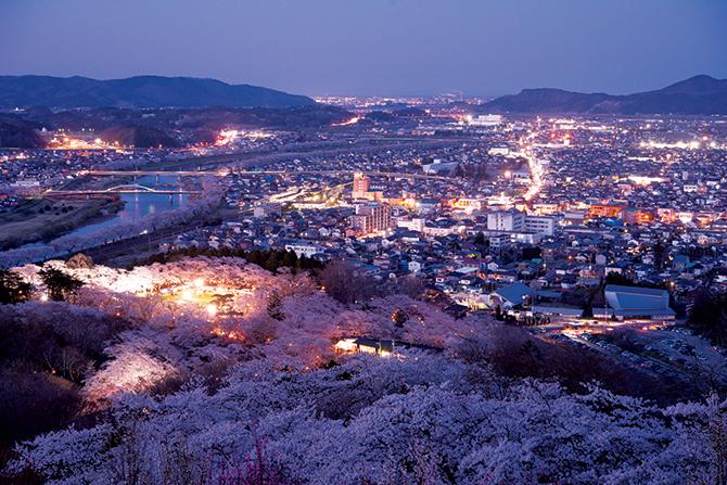 船岡城址公園の山頂から見える町並み