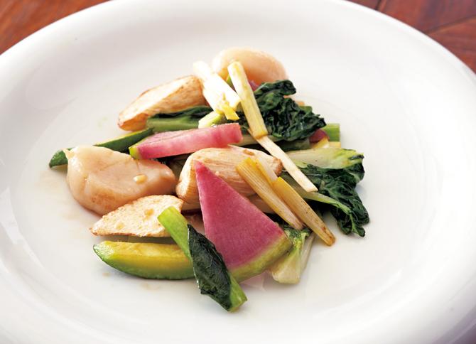 三陸産帆立貝と中国野菜の炒め