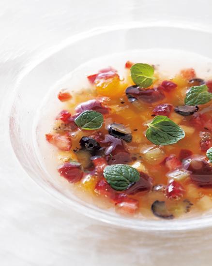 パンナコッタと季節のフルーツスープ