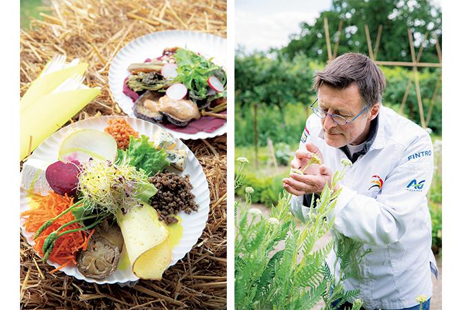 キッチン・ガーデンの野菜を使ったひと皿とシェフのクロード・ポーリッグ氏