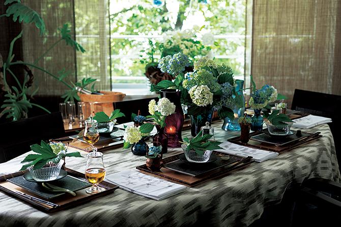 明月院の風景をテーマにしたテーブルコーディネート