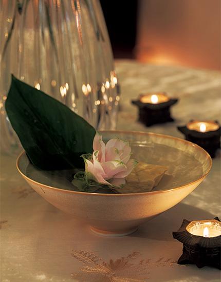 クリスチャンヌ・ペロション作の平鉢と水生植物