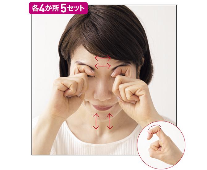眉から目尻の筋肉に頭の重みで圧をかけ、上下左右に首を振る
