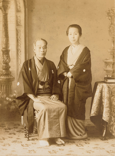 他界の前年、明治33年5月の福澤夫妻肖像写真