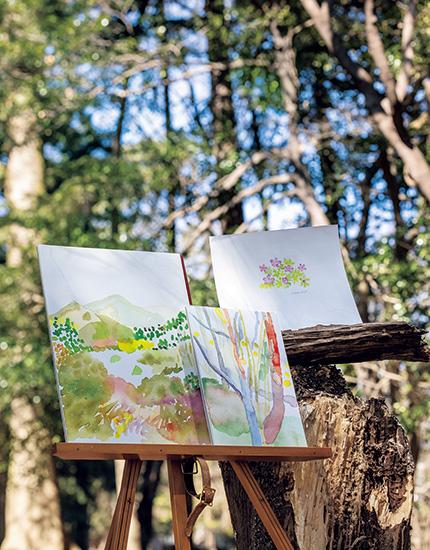 森の中では気張らずに自由に描くことを楽しめる