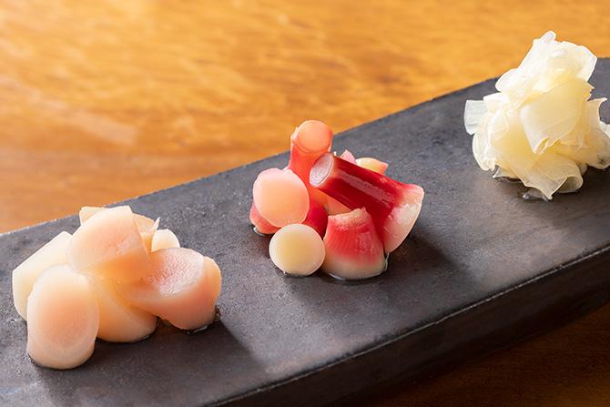 新生姜の甘酢漬け3種
