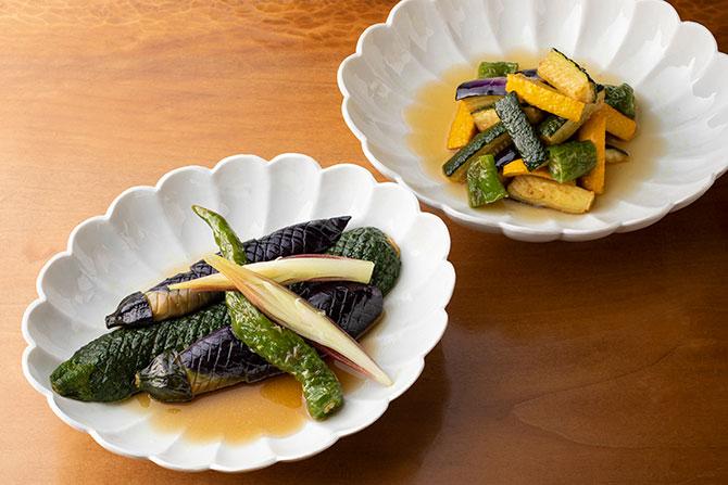 夏野菜の揚げびたし、南蛮漬け