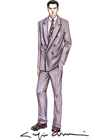 レオナルドディカプリオの衣装スケッチ。ジョルジオアルマーニ