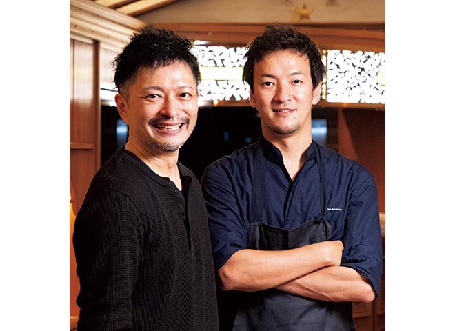 「ミシュランガイドフランス」で一つ星を獲 得したパリの「Sola」で、オーナーシェフを 務めた吉武シェフ(右)とシェフパティシエを 務めた深野パティシエ(左)によるディナー。