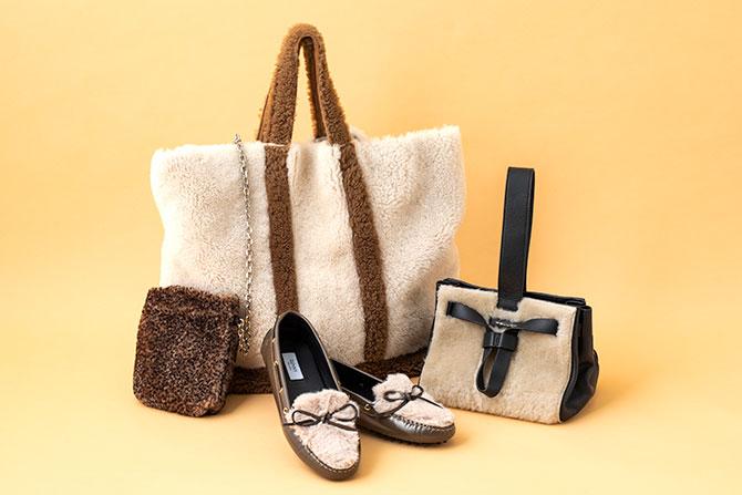もこもこ素材のバッグや靴