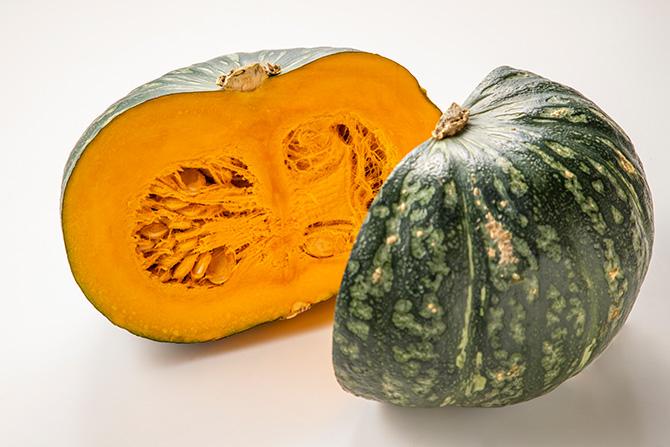 かぼちゃの揚げ煮、焼きかぼちゃと焼き小いものもろみ和え