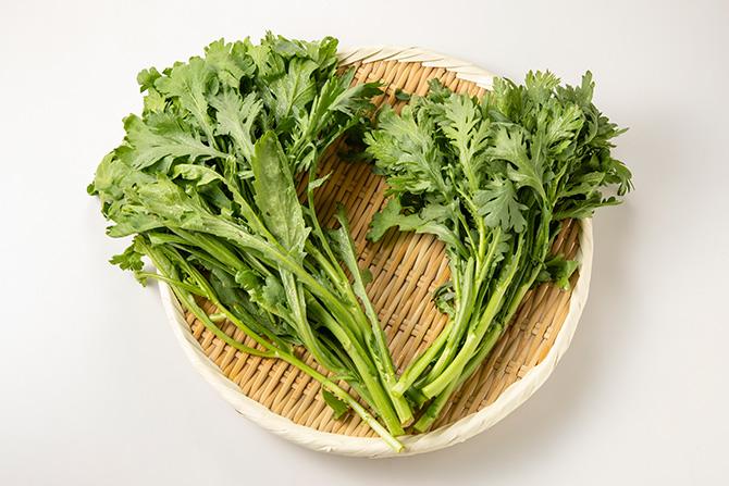 春菊のひたし、春菊と秋野菜の辛子ごま酢味噌和え